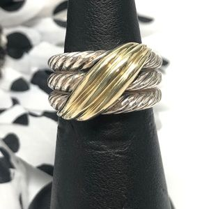 David Yurman Crossover Triple Row Ring 925 14K